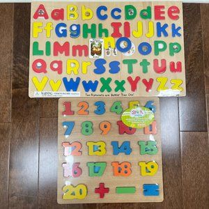 NEW Wooden Puzzles - Alphabet and Numbers